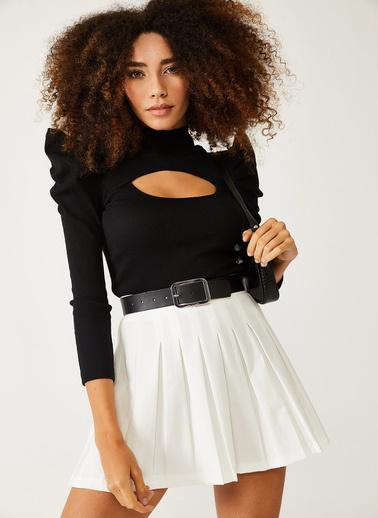 XHAN Siyah Degaje Detaylı Dik Omuzlu Bluz 1Kxk2-44412-02 Siyah